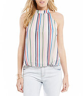 Soulmates Striped Racerback Pleated Tank Top