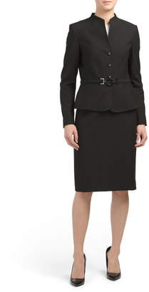 Belted Jacket And Skirt Suit Set