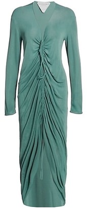 Bottega Veneta Glossy Viscose Jersey Ruched Maxi Dress