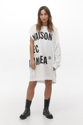 MM6 MAISON MARGIELA MM6 Asymmetric T-Shirt Dress - White ALL at Urban Outfitters