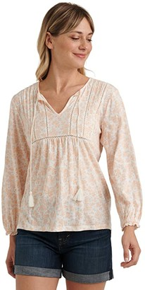 Lucky Brand Long Sleeve V-Neck Printed Peasant Top (Peach Multi) Women's Clothing