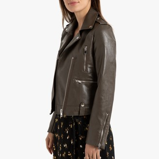 La Redoute Collections Cropped Faux Leather Biker Jacket with Pockets