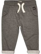 River Island Mini boys grey turn-up joggers