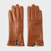 Paul Smith Women's Tan Lambskin 'Artist Stripe' Trim Gloves
