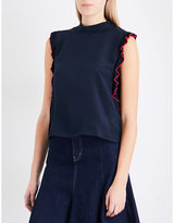 Mo&Co. Frilled-detail silk-crepe de chine top