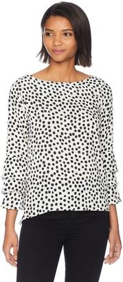 Nicole Miller Women's Long Sleeve Ruffle Blouse