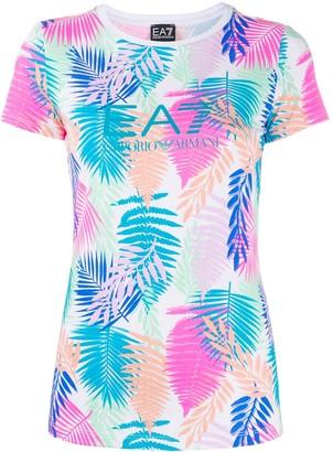 EA7 Emporio Armani short sleeve palm print T-shirt