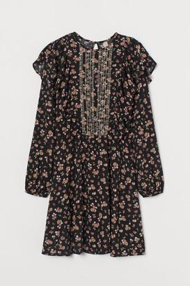 H&M Embroidery-detail Dress - Black