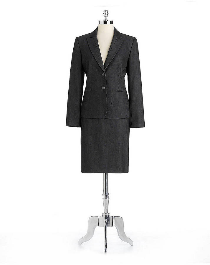 Tahari ARTHUR S. LEVINE Two-Piece Pinstriped Skirt Suit
