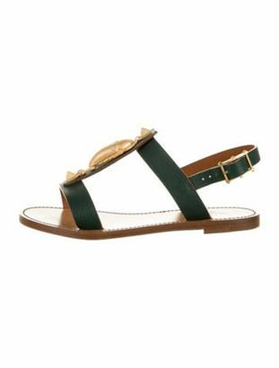 Valentino Leather Gladiator Sandals Green