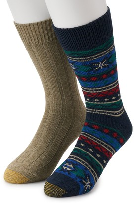 Gold Toe Men's GOLDTOE Lodge Collection 2pk Recycled Fairisle Crew