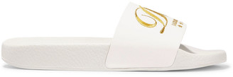 Dolce & Gabbana Luxury Hotel Metallic Embroidered Leather Slides