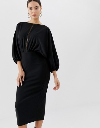 Asos DESIGN oversize batwing midi pencil dress with ladder trim