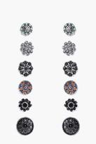 boohoo Kate Floral Stone Stud 6 Earring Set multi