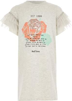 River Island Girls Grey printed mesh sleeve T-shirt dress