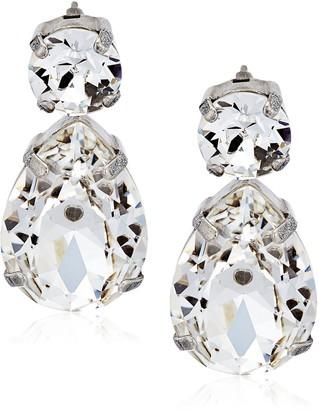 Sorrelli Core Antique Silver Tone Crystal Teardrop Accent Drop Earrings