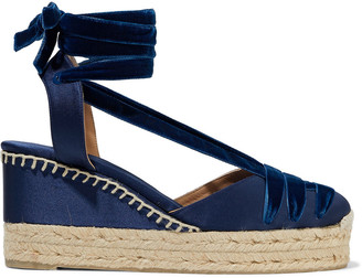 Castaner Cecile Lace-up Velvet And Satin Wedge Espadrilles