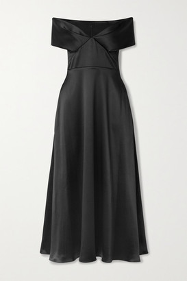 Brandon Maxwell Off-the-shoulder Satin Midi Dress - Black