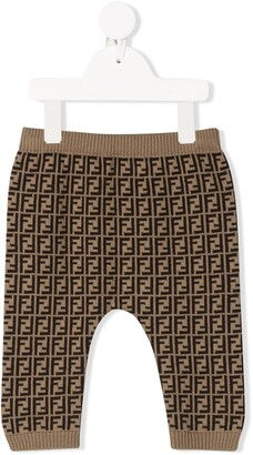 Fendi Kids FF pattern knitted leggings