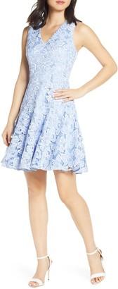Eliza J Lace Sleeveless Fit & Flare Dress