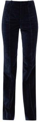 Saint Laurent High-rise Cotton-velvet Flared Trousers - Navy