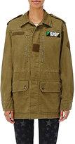 Saint Laurent Women's Patch-Appliquéd Gabardine Field Jacket-DARK GREEN