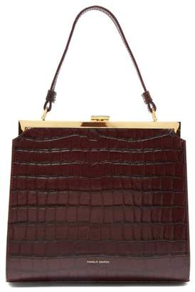 Mansur Gavriel Elegant Crocodile-effect Leather Clutch Bag - Womens - Dark Brown