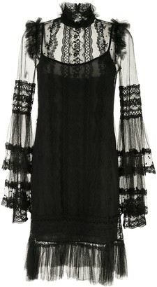 Costarellos Tulle Sheer Panel Dress