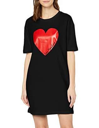 Love Moschino Women's Short Sleeve Jersey Dress_Heart & Italic Logo Print,(Size: 46)