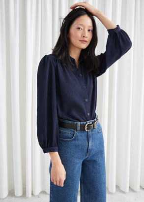 And other stories Gathered Crepe Button Down Blouse