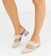 Asos Design DESIGN Wide Fit Wings embellished block heeled mules in multi