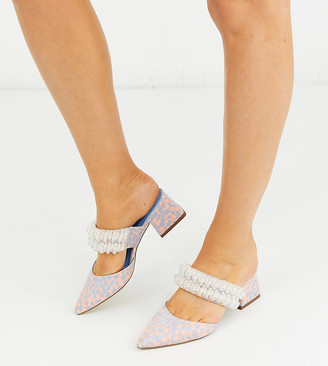 ASOS DESIGN Wide Fit Wings embellished block heeled mules in multi