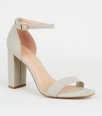 New Look Wide Fit Suedette Ankle Strap Block Heels