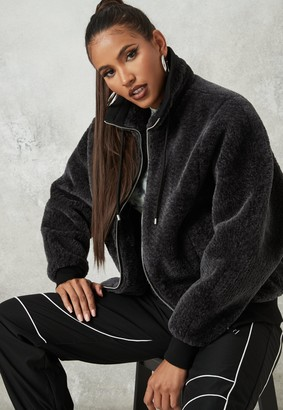 Missguided Grey Faux Fur Oversized Zip Through Jacket