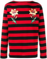 Gucci floral embroidered striped sweatshirt