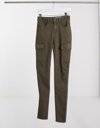Noisy May high waisted jeans with cargo pockets in khaki