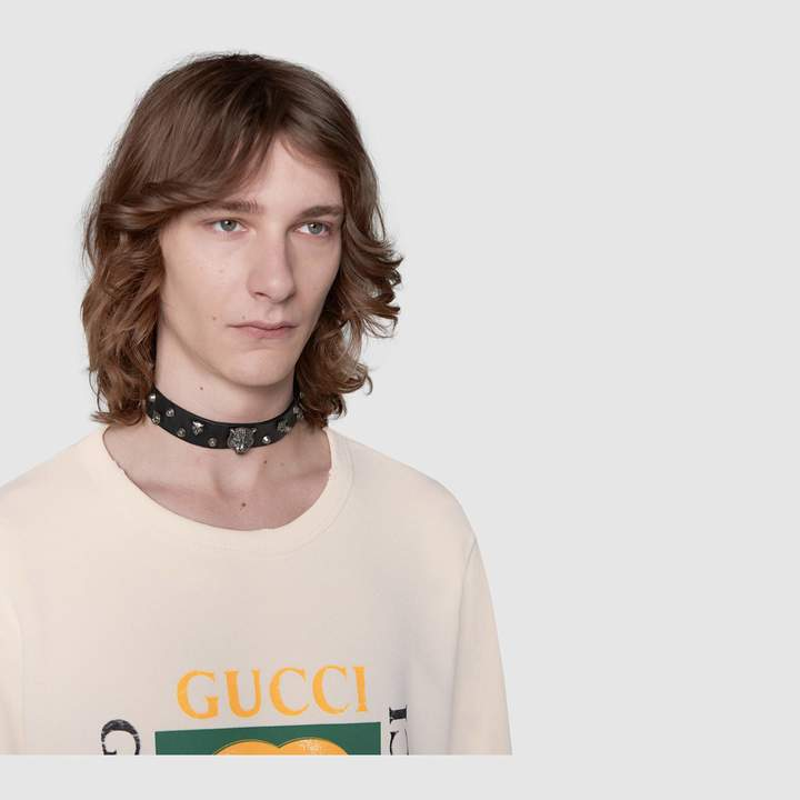Gucci Leather necklace with feline heads