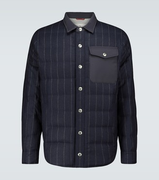 Brunello Cucinelli Piumuno padded pinstriped jacket