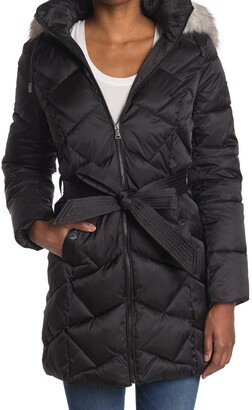 Laundry by Shelli Segal Faux Fur Belted Puffer Jacket