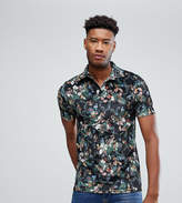 Asos Tall Polo With Revere Collar In Floral Velour