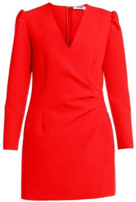 MSGM Long-Sleeve Side-Ruched Crepe Mini Dress