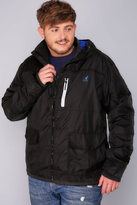 Yours Clothing KANGOL Black Water Resistant Hooded Coat With Blue Fleece Lining