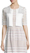 Lela Rose Half-Sleeve Windowpane Lace Bolero