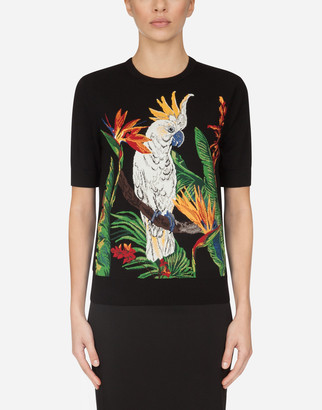 Dolce & Gabbana Short-Sleeved Sweater With Inlaid Parrot