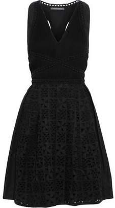 Alberta Ferretti Cutout Georgette And Broderie Anglaise Cotton-blend Mini Dress