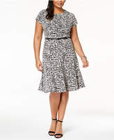 Jessica Howard Plus Size Belted Printed Fit & Flare Dress
