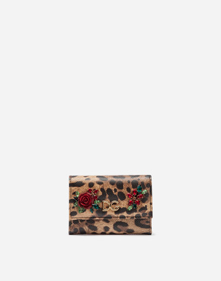 Dolce & Gabbana Small Continental Wallet In Printed Dauphine Calfskin With Logo And Applications