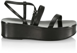 The Row Leather Platform Wedge Sandals