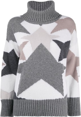 Lorena Antoniazzi Roll Neck Intarsia-Knit Jumper