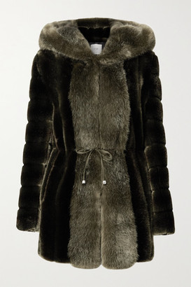 Faz Not Fur - Skate Moss Hooded Two-tone Faux Fur Coat - Army green